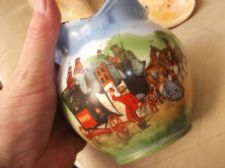 LOVELY ART DECO SMALL POT VASE SCHWARZBURG COACHING SCENES CLEAR BOLD PRINT